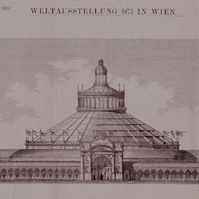 Illustration of Industrial World Exposition Site in Austria Front View